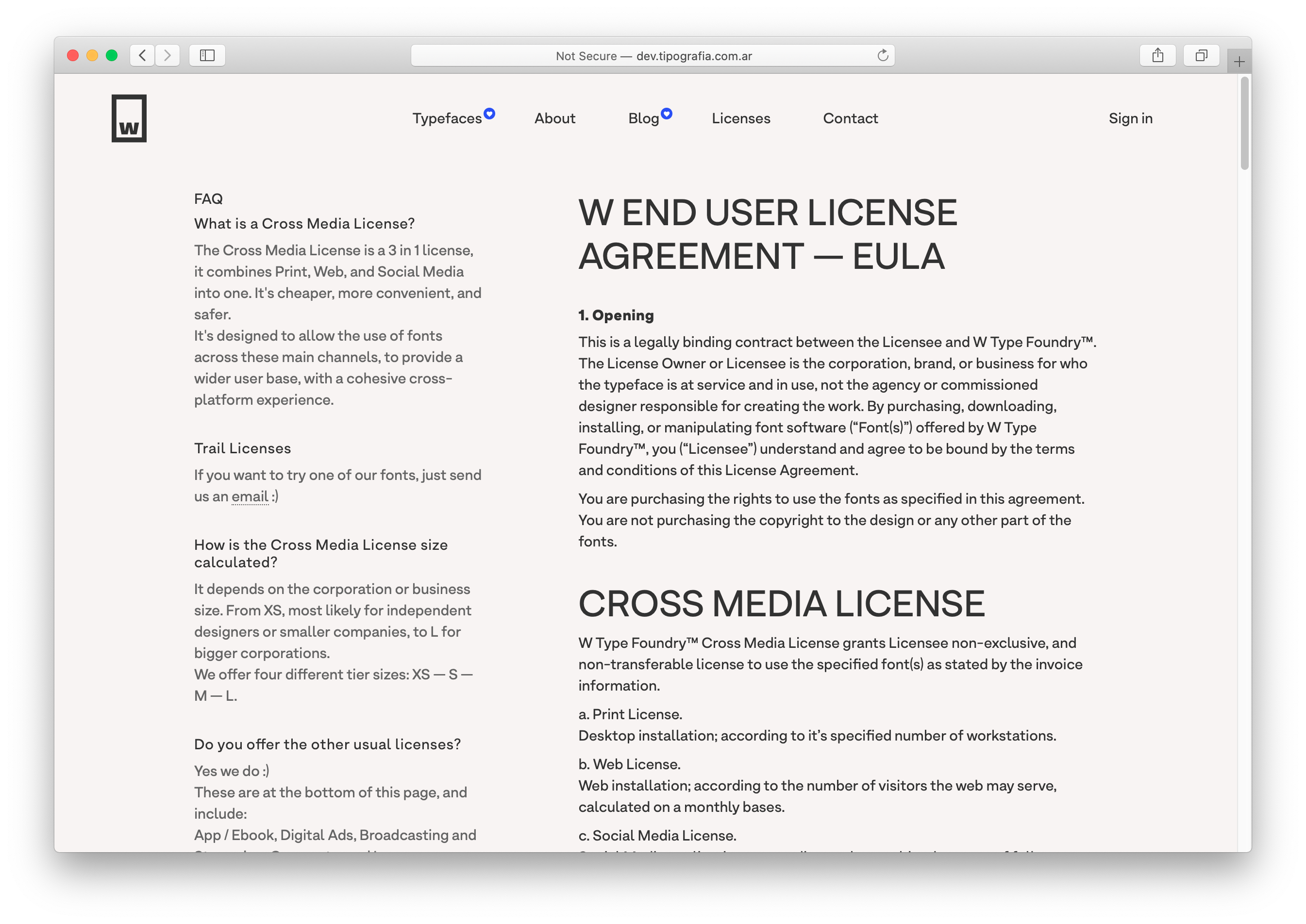 The new W Type Foundry website EULA