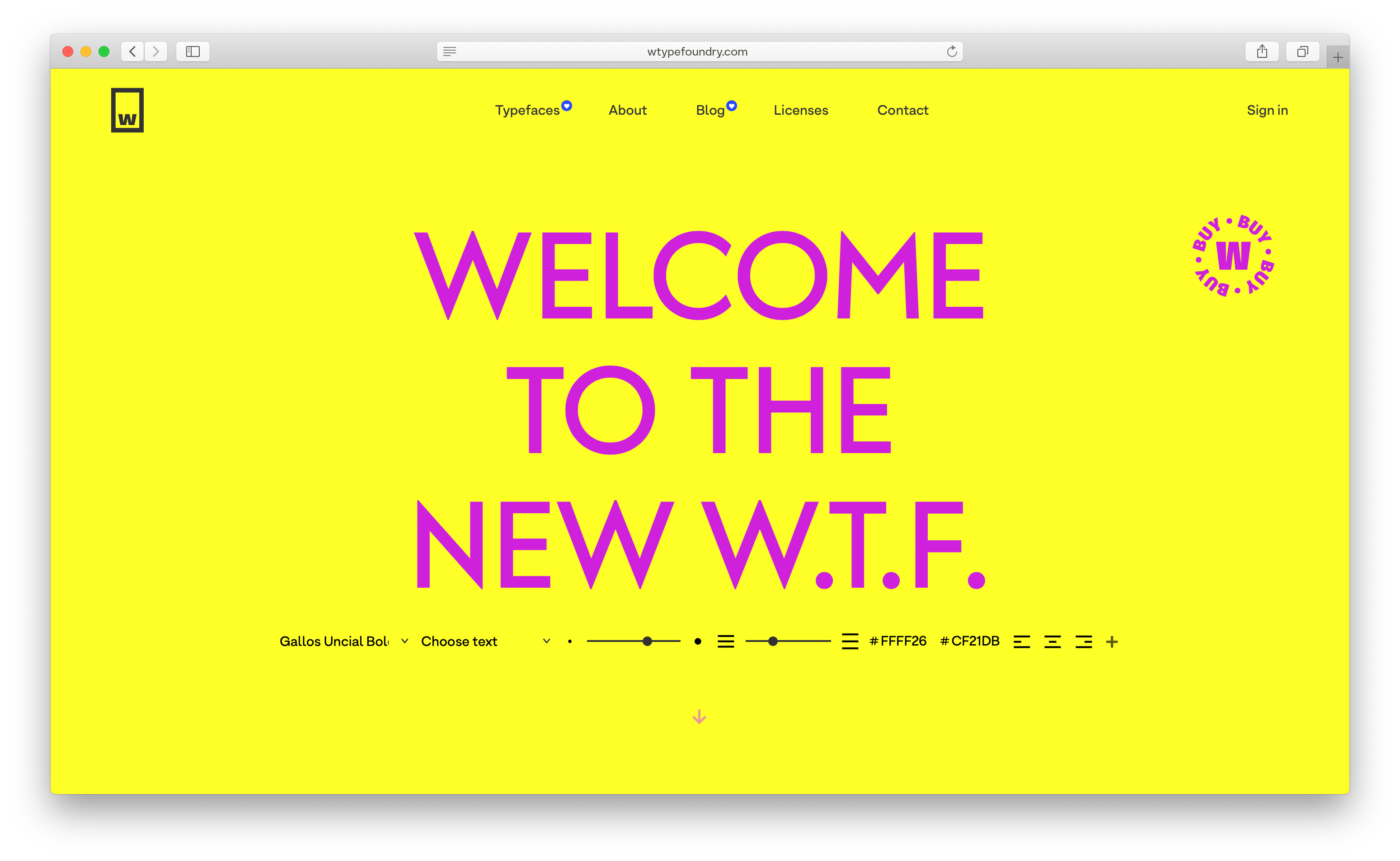 The new W Type Foundry website tester